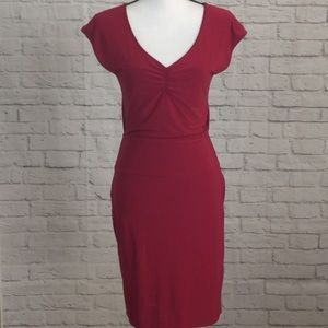 Express Red Dress V Neck, Open Back Size Small